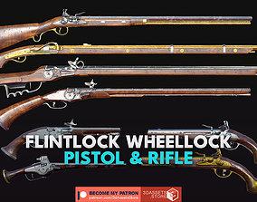 3D model Weapon - Gun - Flintlock Wheellock Pistol Rifle 2