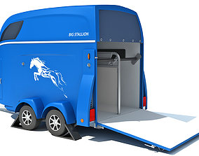 Horse Transport Trailer horse 3D model