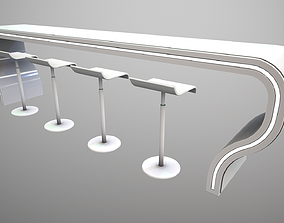 Futuristic Long Table Curved 3D model realtime