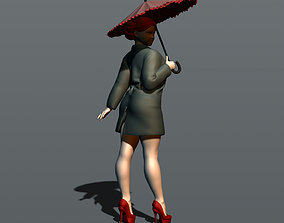 3D print model Girl with umbrella