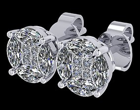 3D print model illusion earring setting almost 2 carat 1
