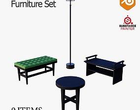 Red N Black Furniture Set 3D model dresser