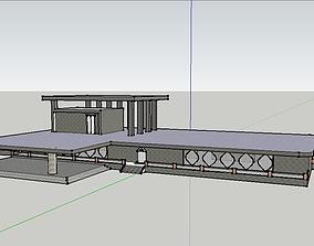 Simple Low Polygon House Building 3D asset