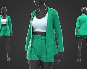 3D Womens business suit top