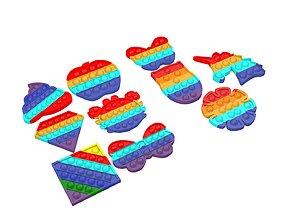 3D asset Pop It Push Bubble Fidget Toys Pack 1