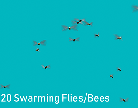 Background Flies and Bees Animated 3D model