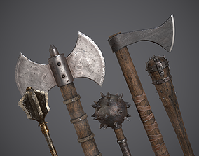 3D model Medieval Axes and Clubs