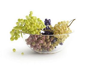 3D model Round Glass Bowl With Grapes