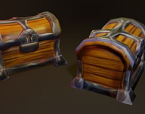 3D asset Game ready low poly treasure chest