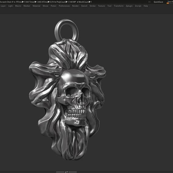 Skull Pendant 07 3d print model