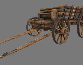 3D asset realtime Wooden Cart