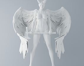 Evil angel holding an axe 3D print model