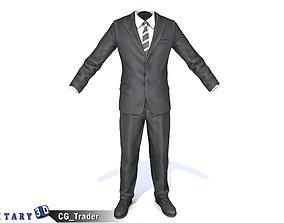 game-ready FBI Agent Suit Detective Costume Lowpoly 2