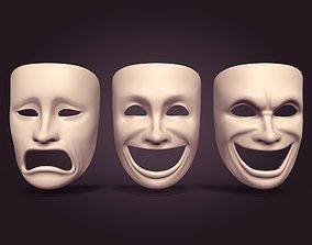 3D asset low-poly Theater Masks
