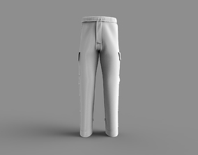 3D model Men Trousers Pants with pockets buttons with UV
