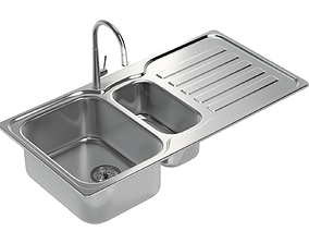Kitchen Sink with double Bowl Tap and Drain 3D model