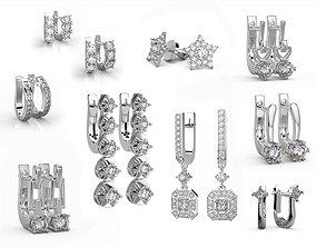 Pack of 13 classic earrings 3D