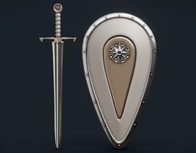 3D model Old sword and shield of Kievan Rus