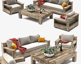 glass Outdoor Furniture Set 3D model