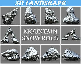 Low poly Snow Rock -190426 3D asset