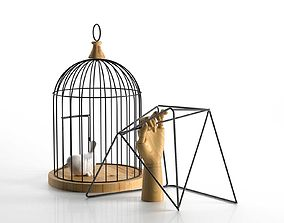 3D model Decor Bird in Cage and Wooden Hand