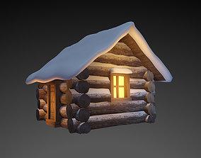 Snowy Wooden Hut 3D asset