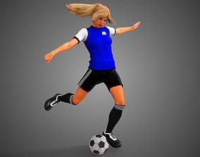 3D Caucasian Football Soccer Player Female