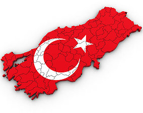 3d Poltiical Map of Turkey