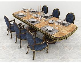 European Carved Dinning Set 2 3D
