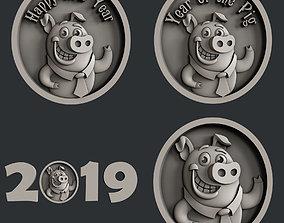 3d STL models for CNC set new year pig