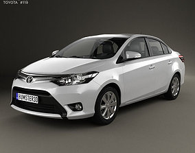 3D Toyota Yaris sedan with HQ interior 2014