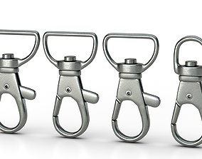 animated Set of 4 Metal Carabiner LowPoly Low-poly 1
