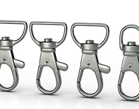 animated Set of 4 Metal Carabiner LowPoly Low-poly 3D