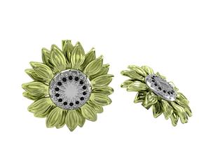 3D printable model sunflower earrings gold