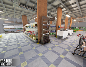 Grocery store - interior and props 3D model