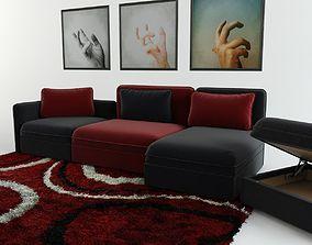 Modular sofa carpet and triptych 3D