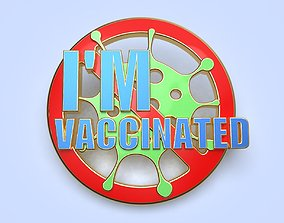 3D print model pin badge of a person vaccinated against