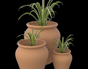 Clay pots with plants 3D printable model