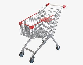 3D model Supermarket grocery store shopping cart metal