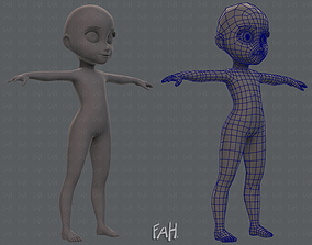 Base mesh girl character 3D asset