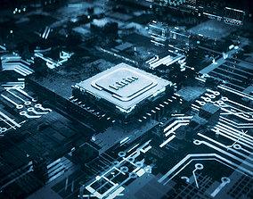 3D model C4D Octane CPU chip core capacitance Scifi 1