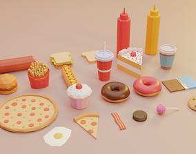 3D asset Low Poly Food Vol 2 - Fast Food