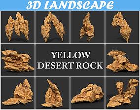 3D Low poly Yellow Rock Desert Pack B-190418