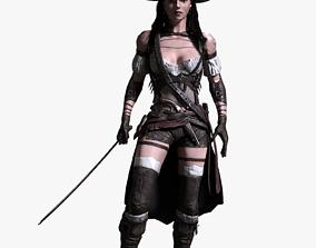 rigged Pirate Female 3D model