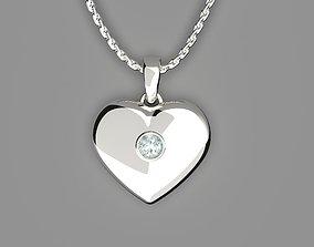 3D printable model Heart shaped pendant with diamond
