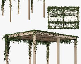 leaves Pergola with Ivy v2 3D