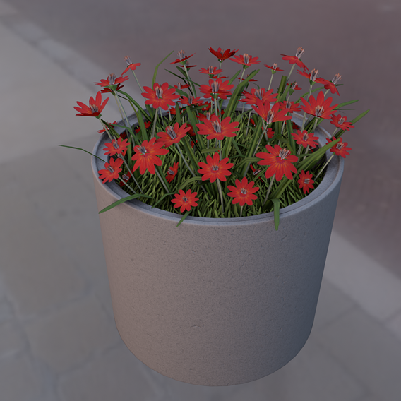 Concrete Pot 800mm with Red Flowers Version 2 (Blender-2.91 Eevee)