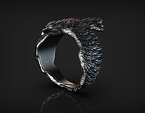 Stylized Bird Raven Ring 3D print model
