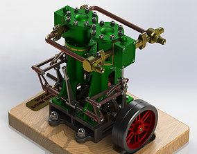 VERTICAL TWIN STEAM ENGINE - WITH REVERSE GEAR 3D
