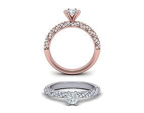 Engagement ring with diamonds twisted around the band 3d